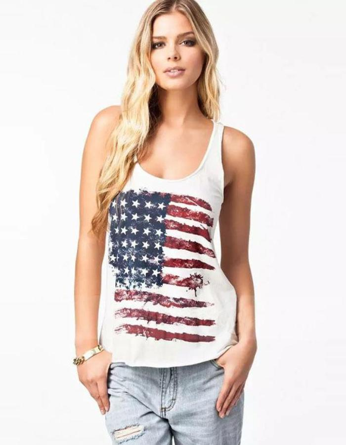 Women's White Flag Casual Tank, INstyle fashion
