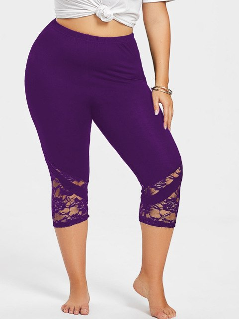 Women's Purple Lace Mid Calf Plus Size Leggings, INstyle fashion