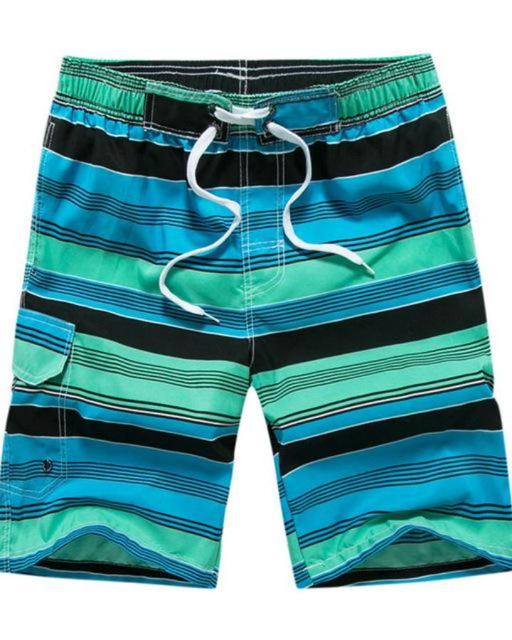Men's Blue And Green Multi Striped Swimwear, INstyle fashion