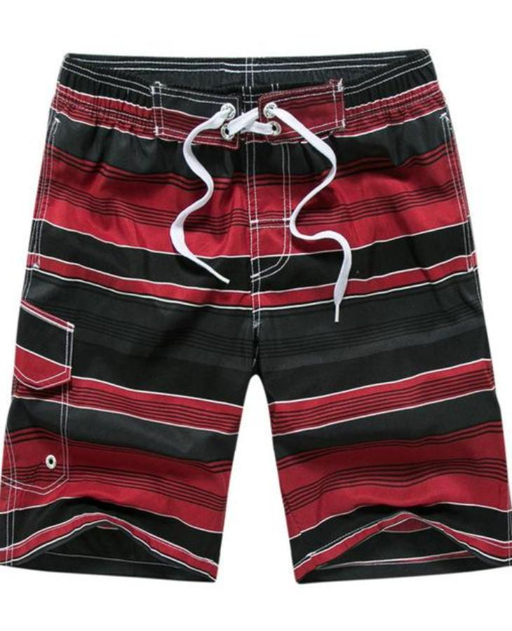 Men's Red And Black Multi Striped Swimwear, INstyle fashion