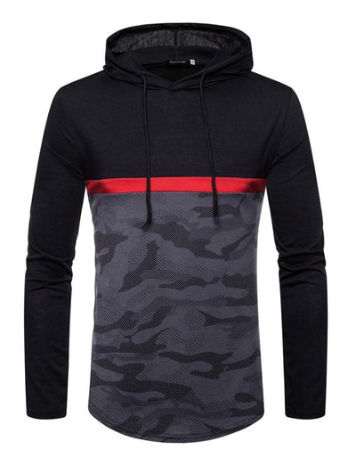 Men's Black Long Sleeve Camo Hoodie, INstyle fashion