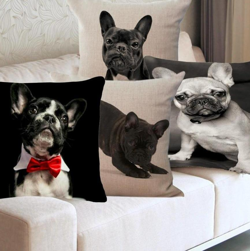 INstyle Black And White French Bulldog Pillow Case, Home Decor
