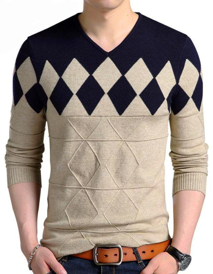 Men's Black And Brown Diamond Sweater, INstyle fashion