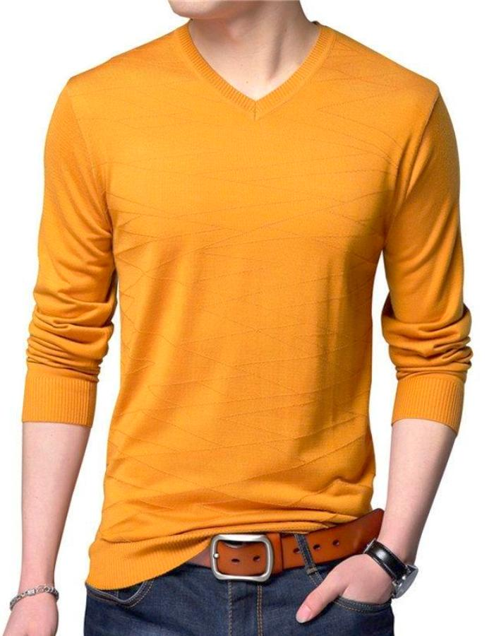 Men's Yellow Long Sleeve V-Neck Sweater, INstyle fashion