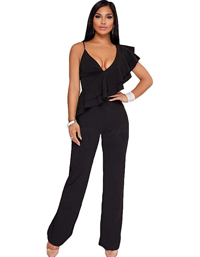 Women's Black Ruffle Shoulder Jumpsuit, INstyle fashion