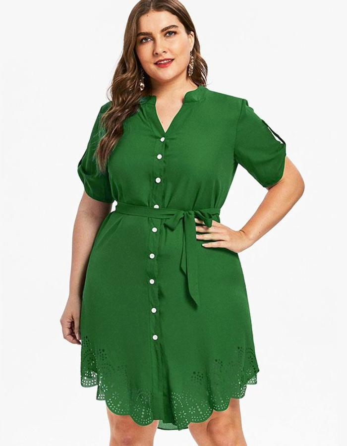 Women's Green Scalloped Plus Size Shirt Dress, INstyle fashion