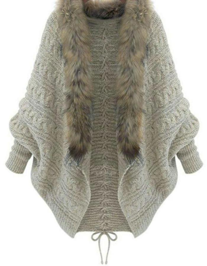 Women's Beige Batwing Sleeve Fur Collar Sweater, INstyle fashion