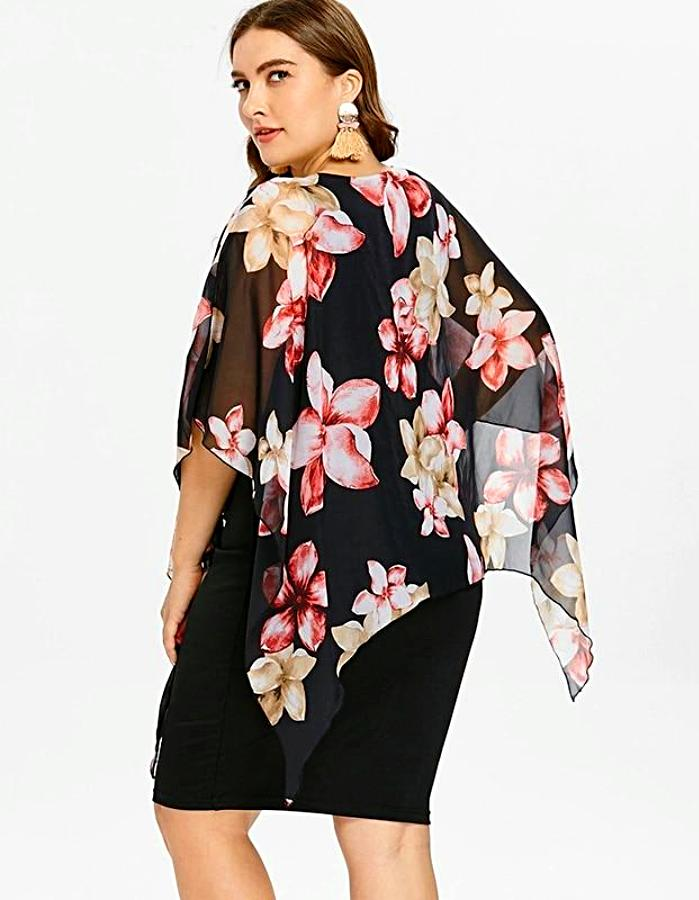 Women's Black Floral Chiffon Plus Size Dress, INstyle fashion