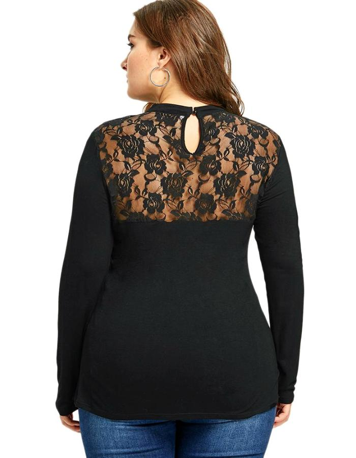 Women's Black Hollow Out Lace Plus Size Blouse, INstyle fashion