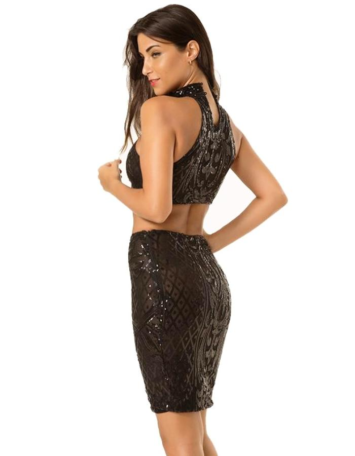 Women's Black Two Piece Sequin Dress, INstyle fashion