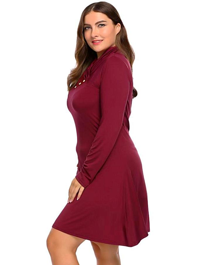 Women's Dark Red Shawl Long Sleeve Plus Size Dress, INstyle fashion