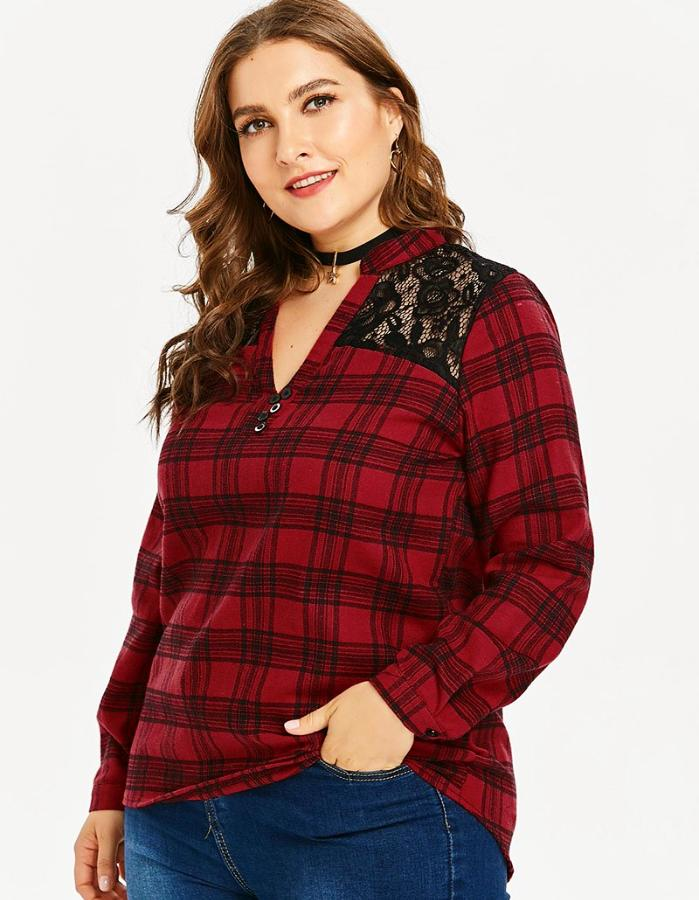 Women's Red And Black Plaid Plus Size Lace Insert Top, INstyle fashion