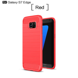 Shockproof Carbon Fiber Phone Case For Samsung Galaxy S6, S6 Edge, S7, S7 Edge, S8, S8 Plus