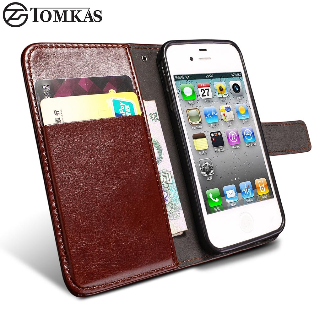 Flip Wallet PU Leather Case For iPhone 4 and iPhone 4S With Card Holders