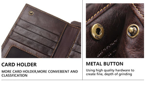 Men's Genuine Leather RFID Wallet, Credit Card Holder, Cell Phone Holder and Coin Purse.