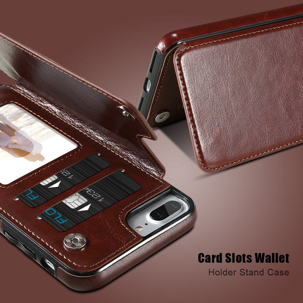 Luxury Leather Wallet Case For Multiple iPhone Models with Card Holder, Kickstand & Flip Back Cover.