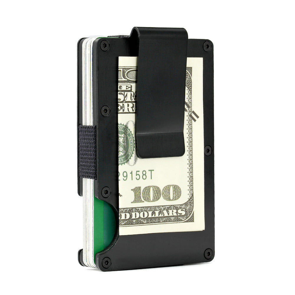 Thin Metal RFID Wallet for Credit Cards and Money Clip for Cash