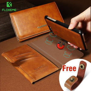 Flip Leather Magnetic Wallet Case For Various iPhone & Samsung Models.