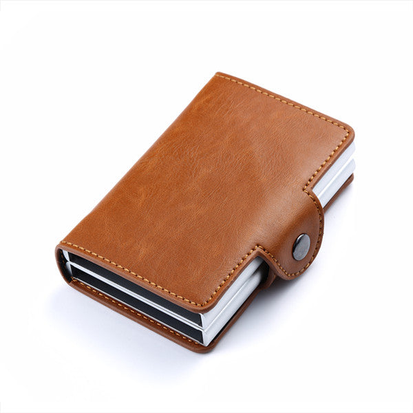 Leather Business and Credit Card Holder, Metal, RFID, Double Aluminium Box Wallet