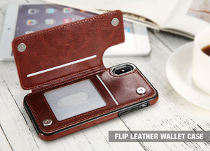 Retro PU Luxury Leather Back Case & Card Holder For iPhone Models