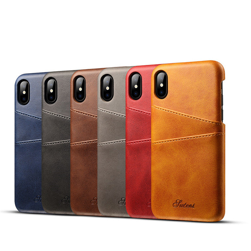 Slim PU Leather Back Cover Case & Card Holder for Multiple iPhone Models