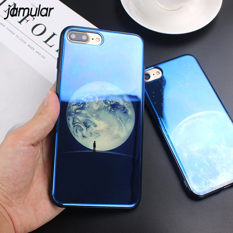 Electroplate Blue Moon/Planet Silicone Soft Phone Cover for Multiple iPhone Variants.