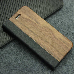 Retro Luxury Leather and Real Wood Flip Case for Samsung Galaxy S8, S7 Edge, S9 Plus, iPhone 7 & 8 Plus