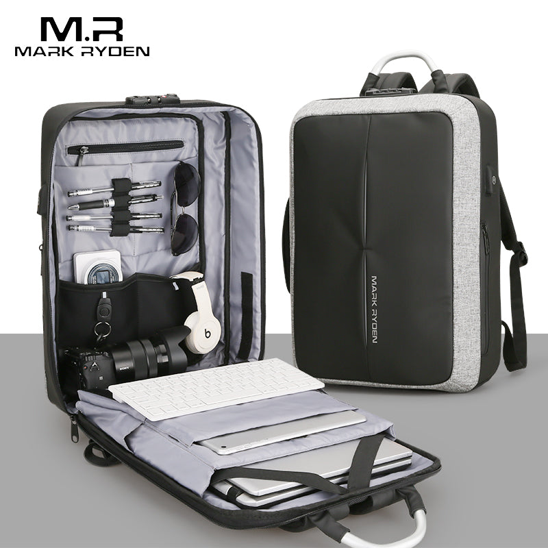 Anti-Theft USB Recharging Mens Travel Backpack with NO Key TSA Lock