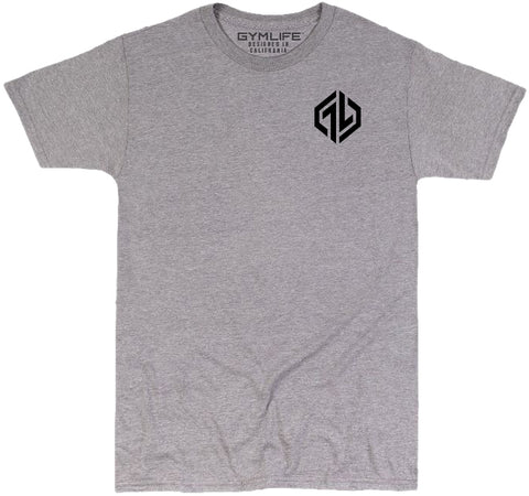 GYM LIFE™ - HEXICON - ATHLETIC HEATHER GREY - 52/48 BLEND PERFORMANCE T-SHIRT
