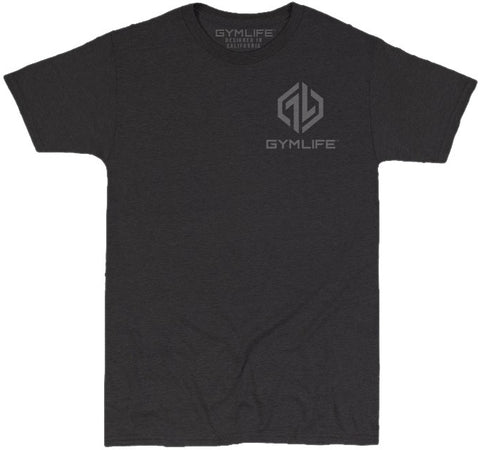 GYM LIFE™ - POWER UP - BLACK - 52/48 BLEND PERFORMANCE T-SHIRT
