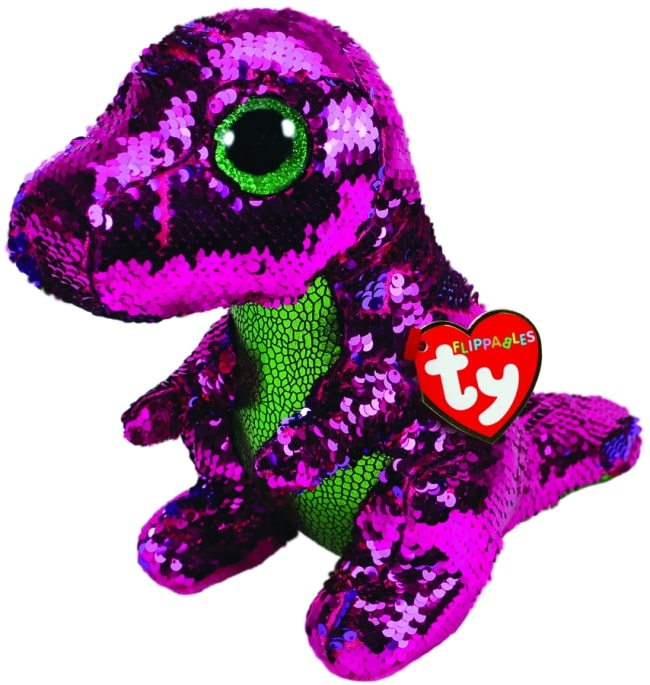 FLIPPABLES MEDIUM STOMPY - PINK & GREEN DINOSAUR