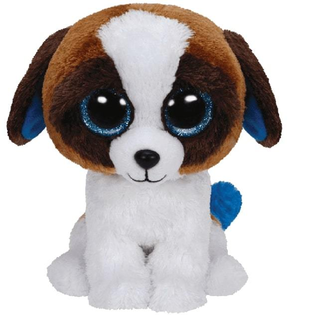 BEANIE BOOS MEDIUM DUKE - BROWN / WHITE DOG