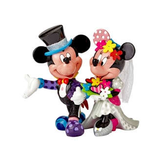 DISNEY BRITTO MICKEY AND MINNIE MOUSE WEDDING LARGE COLLECTIBLE FIGURINE