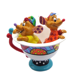 DISNEY BRITTO JAQ AND GUS IN TEA CUP LARGE COLLECTIBLE FIGURINE