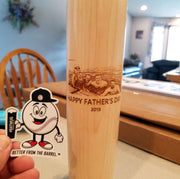 Sports birthday gift, custom engraved baseball bat, beer mug