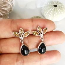 Vintage Black Onyx & Citrine Quartz Earrings