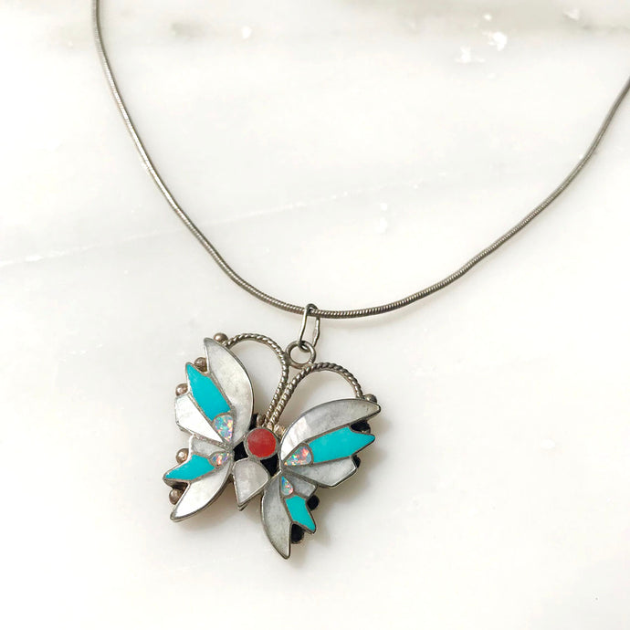 Vintage Art Nouveau Butterfly Necklace