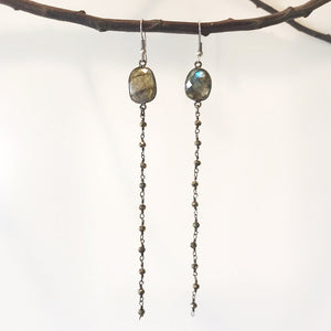 Shooting Star Natural Gemstone Rosary Earrings