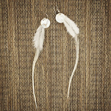 Snow White Feather Shell Earrings