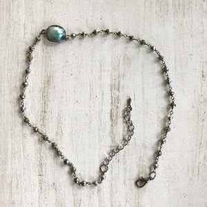 Shooting Star Gemstone Rosary Choker Necklace