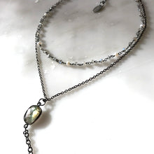 Moonstone&Pearl Double Chain Necklace