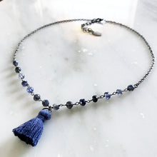 Blue Iolite Choker Necklace with Mini Tassel
