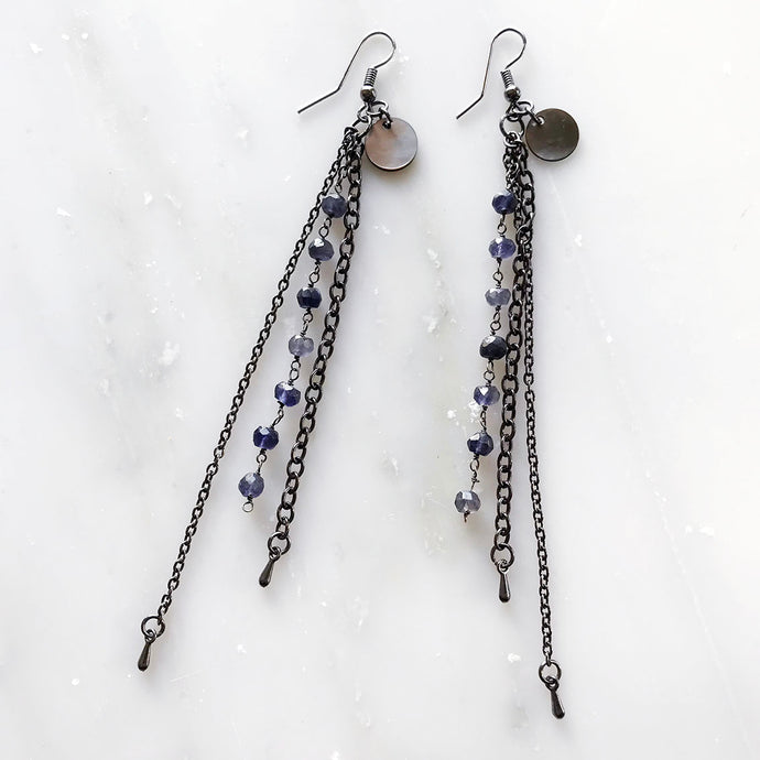 Blue Iolite Chain Drop Earrings