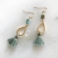 Sage Tassel Drop Earrings