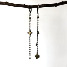 Black Pyrite Stone Cross  Earrings