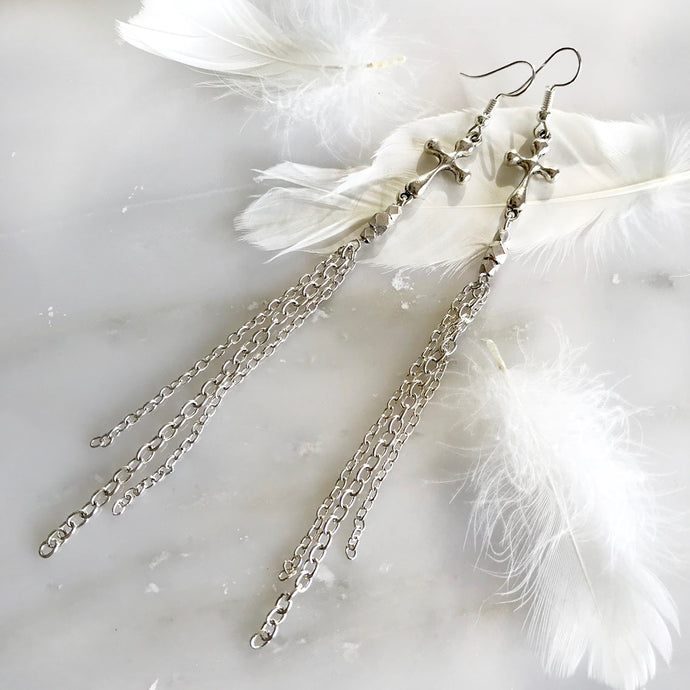 White Night Cross Earrings