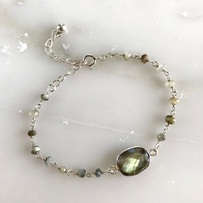 Evergreen Raw Stone Bracelet