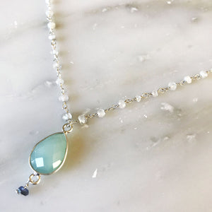 Aqua Chalcedony Necklace With Moonstone Rosary Chain