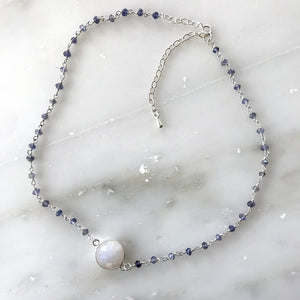 White Moonstone Choker Necklace