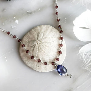 Iolite Drop Pendant Necklace With Rosewood Pink Quartz Rosary Chain
